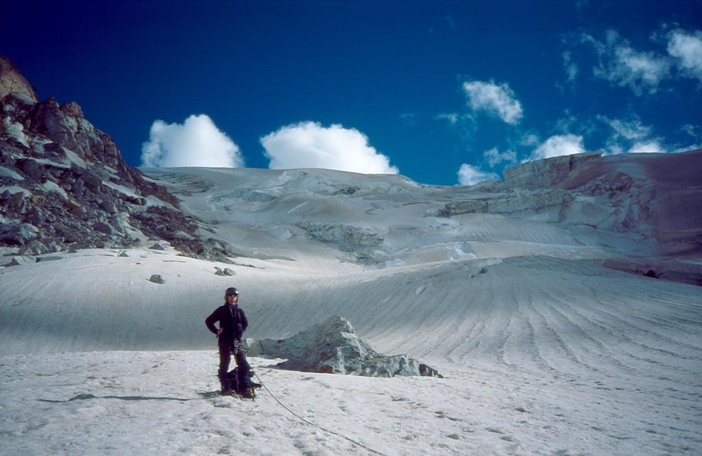 Po zejściu przez lodospad z przełęczy Dżantugan Zachodnia