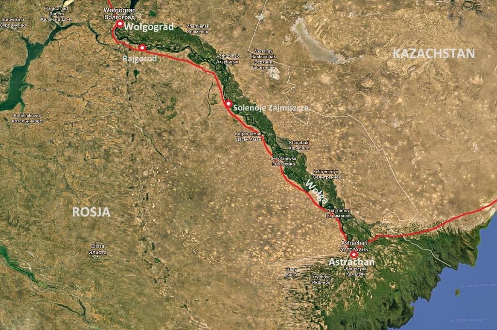 Mapa dolnej Wolgi Wołgo – Achtubińskiej Terasy Zalewowej (Волго-Ахтубинская пойма)