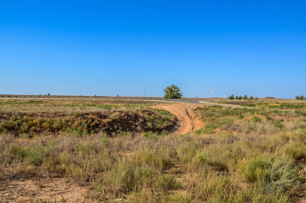 Droga do Astrachania biegnie ponad doliną Wołgi przez stepowy krajobraz Niziny Nadkaspijskiej.