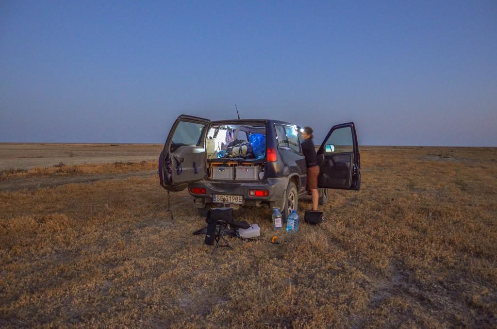 Biwak w kazachskim stepie