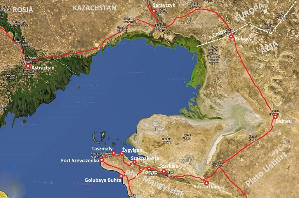 Mapa morze kaspijskie Kazachstan