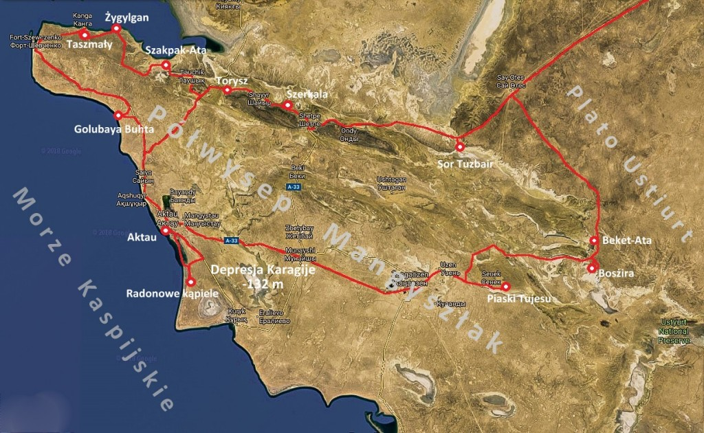 Mapa polwyspu Mangistau
