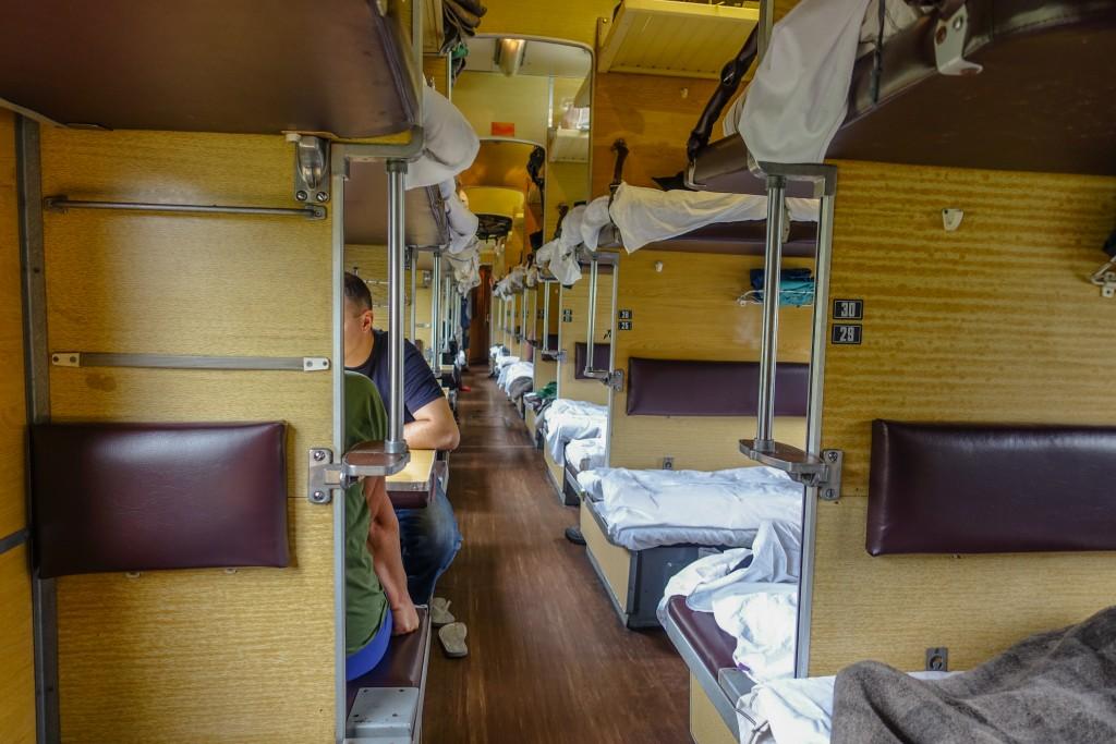 wagon plackartny w rosyjskim pociągu