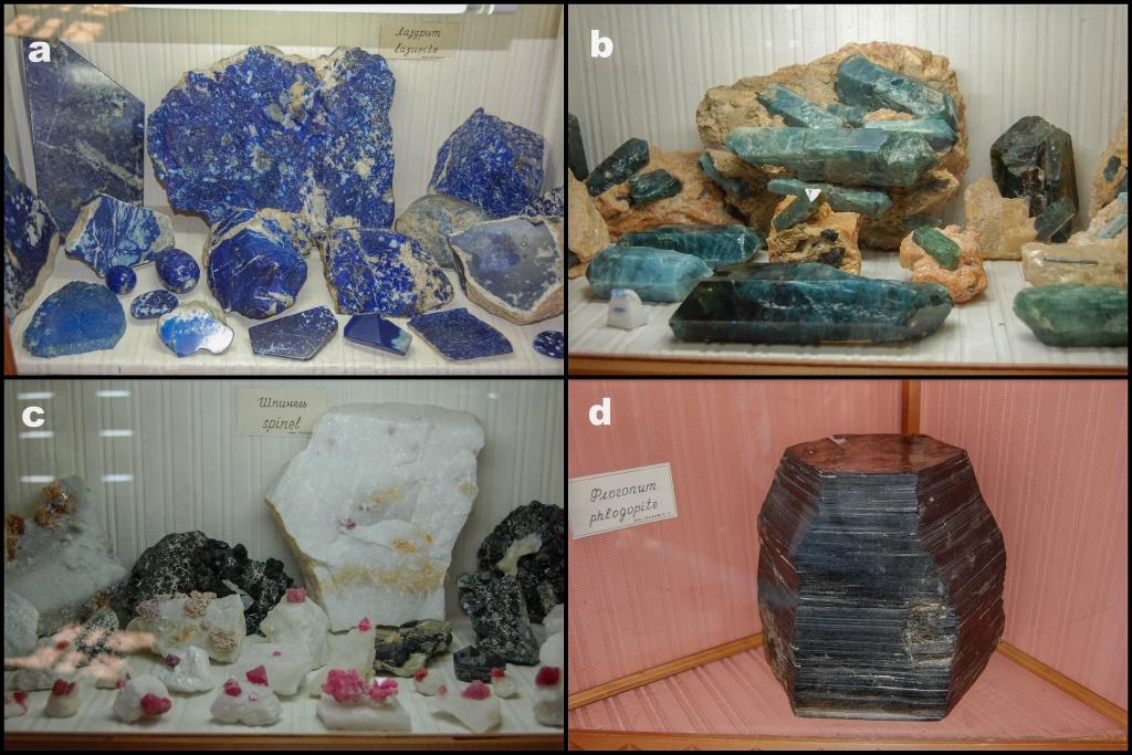 Zobaczyć tutaj można minerały znajdowane w licznych kamieniołomach i kopalniach w okolicy Sludianki, między innymi: a- rzadki lapis lazuli (lazuryt); b- apatyt; c- kryształy spinelu; c- ogromny kryształ flogopitu
