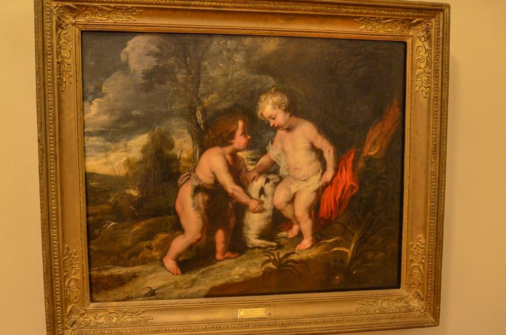 """Kopia obrazu P.P. Rubensa """"Młody Chrystus i Jan Chrzciciel"""" stworzona prawdopodobnie w Hiszpanii w XVIII w."""