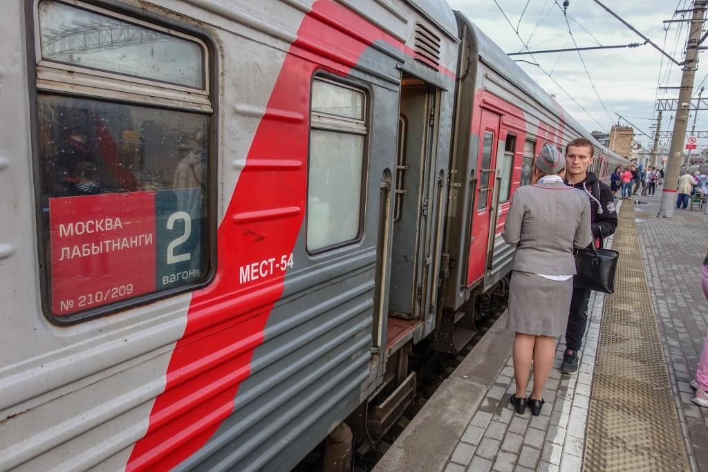Pociąg rosyjski na dworcu w Moskwie